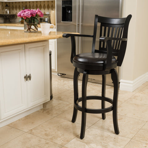 31-Inch Armed Espresso Leather Swivel Barstool - NH918692