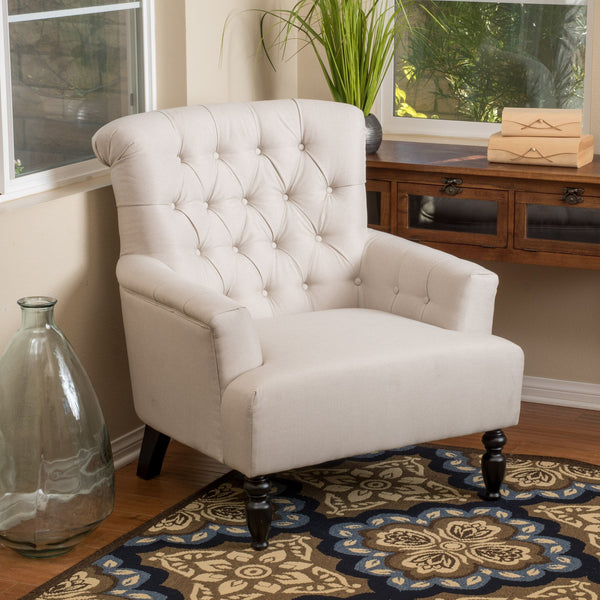 Contemporary Button-Tufted Fabric Club Chair with Rolled Backrest - NH309692