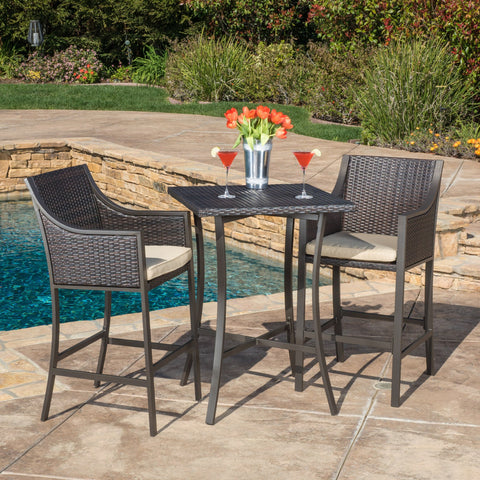 3 Pc. Multi Brown Outdoor Bar Set - NH999692