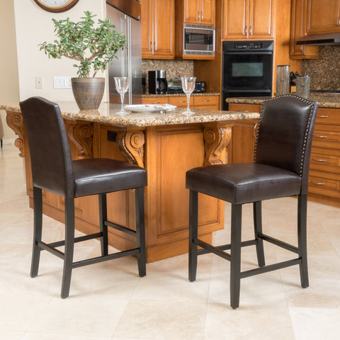 27-Inch Brown Leather Counter Stools (Set of 2) - NH280792