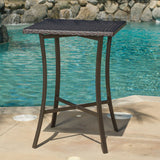 Outdoor Square Multi-Brown Wicker Bar Table with Aluminum Frame - NH542792