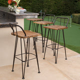 Outdoor Industrial Teak Finished Acacia Wood Barstools with Iron Frame - NH944303