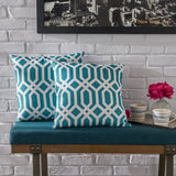 Indoor Dark Teal Arabesque Patterned Water Resistant Square Throw Pillow - NH198203