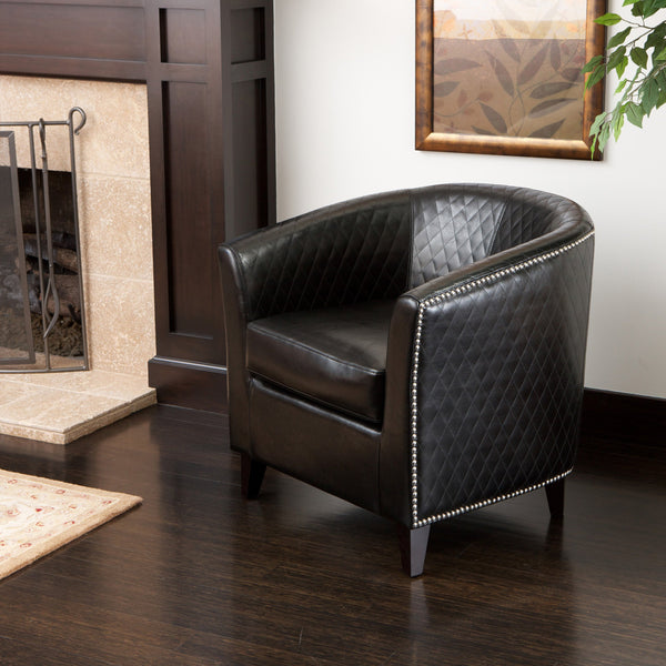 Harlequin Pattern Leather Club Chair - NH161852