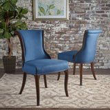 Traditional Upholstered Fabric Dining Chairs w/ Espresso Finish (Set of 2) - NH928103