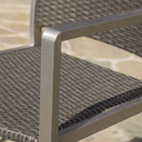 Outdoor Modern Gray Wicker Barstools with Aluminum Frame (Set of 4) - NH653003