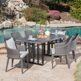 Outdoor 7 Piece Wicker Dining Set with Concrete Dining Table - NH380403