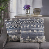 Handcrafted Boho Denim and Fabric Pillow - NH236103