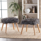 Glam Boho Faux Fur Ottoman Stool - NH335003