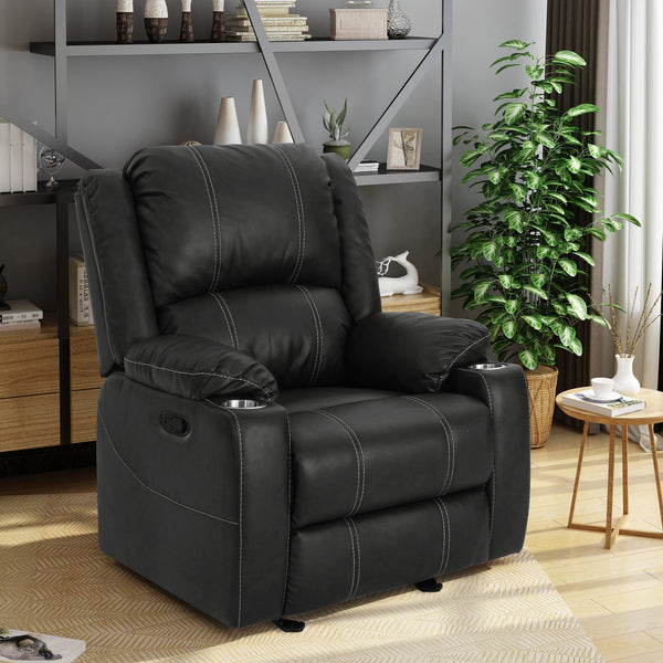Traditional Leather Recliner with Steel Cup Holders - NH069303