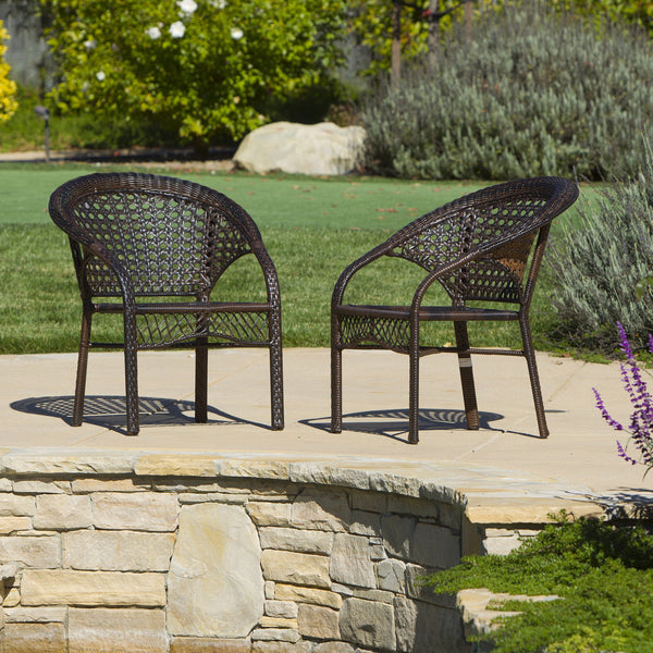 Brown 2pk Wicker Club Chairs - NH267872