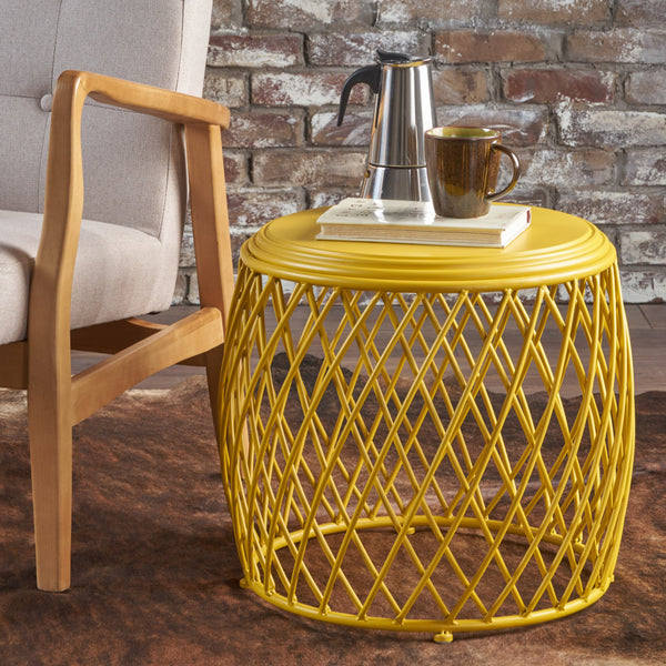 19 Inch Diameter Lattice Matte Finish Iron Side Table - NH272203