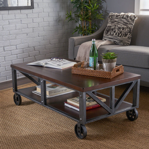 Industrial Faux Wood Coffee Table with Antique Black Iron Frame - NH672303