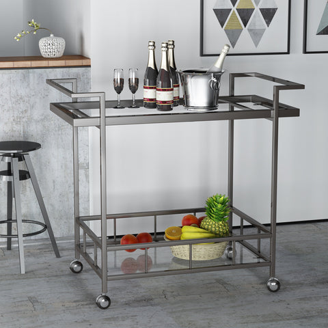 Indoor Industrial Black Iron Bar Cart with Tempered Glass Shelves - NH853203