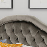 New Velvet Studded Seam Tufted Queen/Full Headboard - NH585303