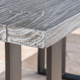 Outdoor Oak Finish Light Weight Concrete Dining Table - NH770403