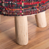 Handcrafted Boho Fabric Round Ottoman Stool - NH246992