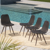 Outdoor Multibrown Wicker Dining Chairs with Dark Brown Powder Coated Legs - NH169103