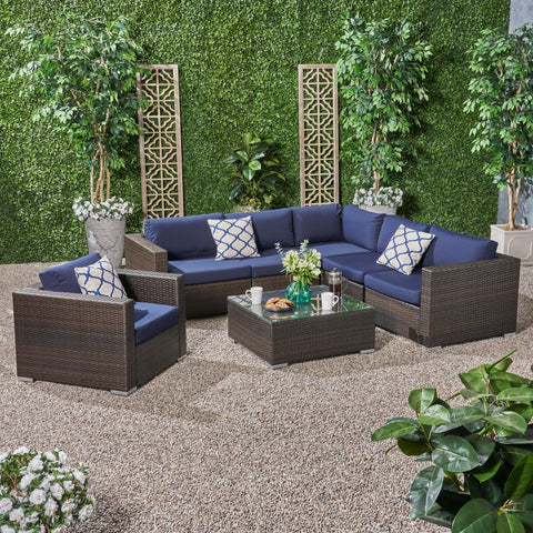 Outdoor 6 Seater Wicker Sectional Sofa Set with Sunbrella Cushions - NH115803