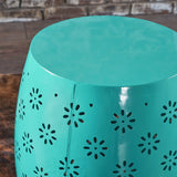 Modern Floral Lace Cut Iron Drum Shaped Accent Table - NH177103