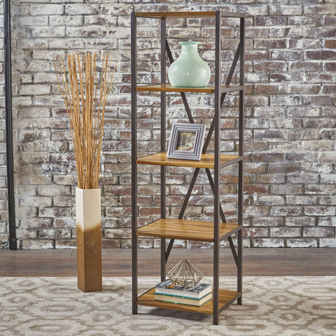 4 Shelf Wood & Metal Etagere Bookcase - NH192103