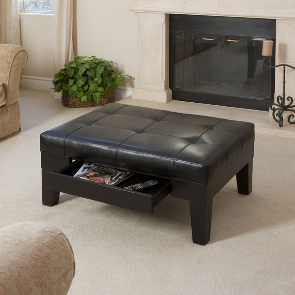 Tufted Leather Storage Ottoman Table with Drawer - NHNRB299933