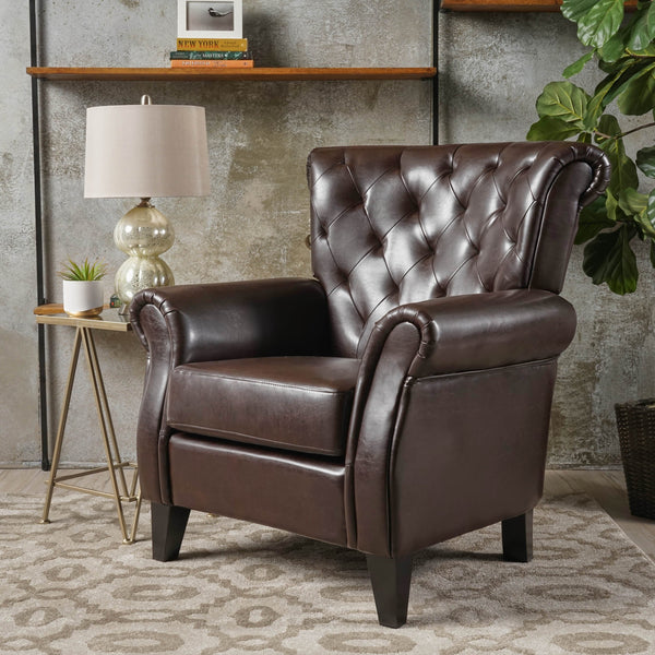 Contemporary Tufted Leather Club Chair - NH347612