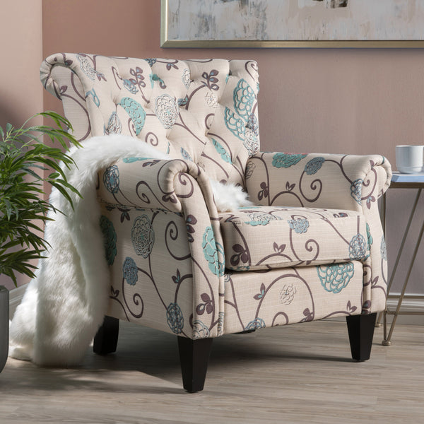 Floral Tufted Fabric Club Chair - NH162992