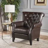 Tufted Hazelnut Leather Club Chair - NH318912