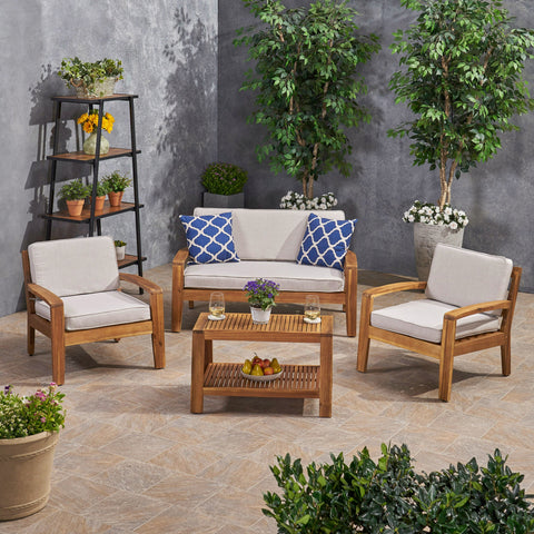 Patio Acacia Wood 4-Seater Conversation Set with Coffee Table and Sunbrella Cushions - NH562703