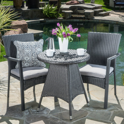 Outdoor 3 Piece Grey Wicker Dining Set with Cushions - NH002003