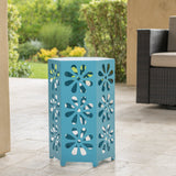14 Inch Iron Floral Side Table - NH091303