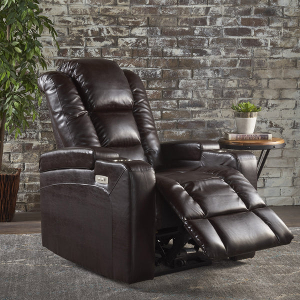 Brown Leather Power Recliner With Storage, Cup Holder, and USB Charger - NH640203
