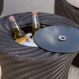 Clarice Outdoor Brown Wicker Accent Table with Ice Bucket