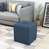 Modern Fabric Upholstered Square Ottoman with Tonal Piping - NH738303