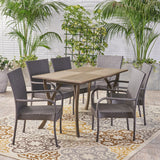 Outdoor 7 Piece Wood and Wicker Dining Set, Gray and Gray - NH721503