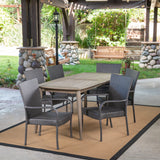 Outdoor 7 Piece Wood and Wicker Dining Set, Gray and Gray - NH371503