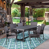 Outdoor 7 Piece Wicker Dining Set, Grey - NH927403