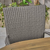 Outdoor 7 Piece Acacia Wood Dining Set with Stacking Wicker Chairs - NH532603