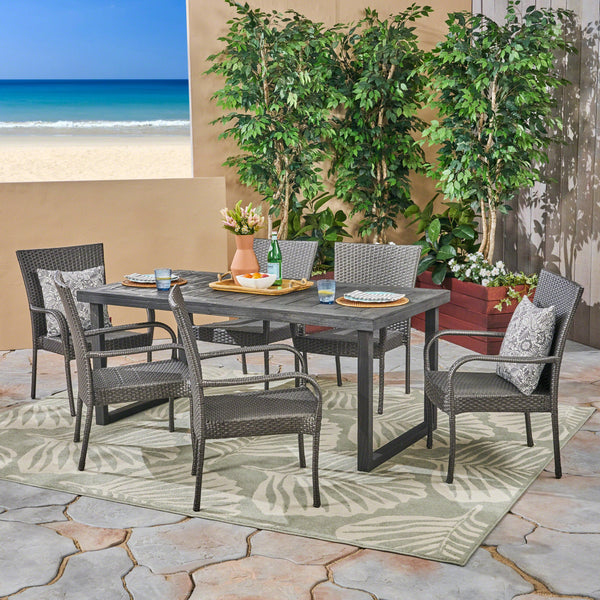 Outdoor 7 Piece Acacia Wood Dining Set with Stacking Wicker Chairs, Sandblast Dark Gray and Gray - NH932603