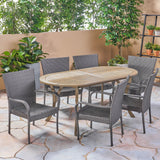 Outdoor 7 Piece Wood and Wicker Dining Set, Gray Finish and Gray - NH862503