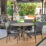Outdoor 5 Piece Wood and Wicker Dining Set, Gray and Gray - NH701503