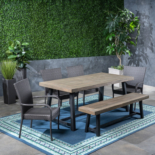 Outdoor 6 Piece Dining Set with Stacking Wicker Chairs and Bench - NH242603