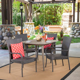 Outdoor 5 Piece Wood and Wicker Dining Set, Gray and Gray - NH711503