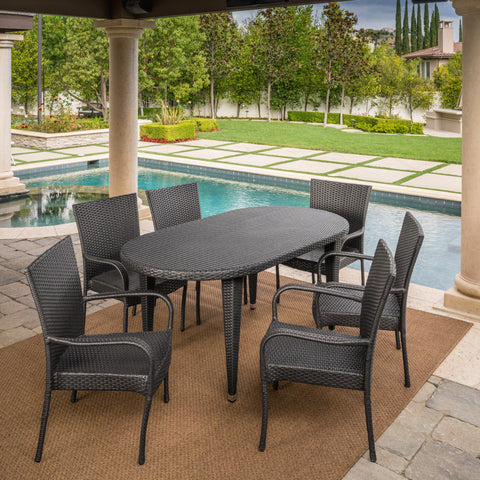 Outdoor 7 Piece Gray Wicker Oval Dining Set with Stacking Chairs - NH636203