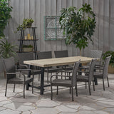 Outdoor Wood and Wicker 8 Seater Dining Set - NH156903