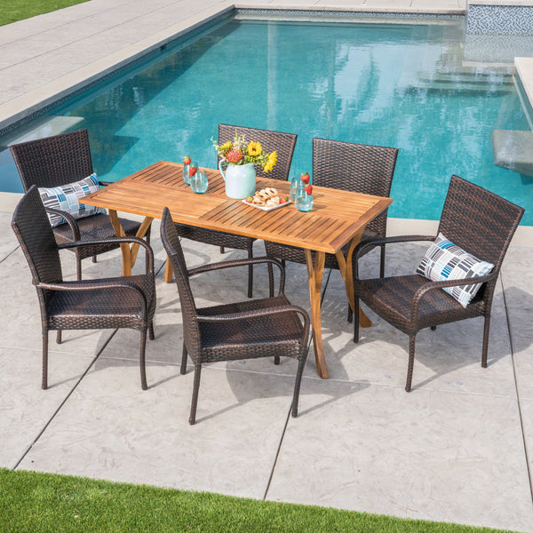 Outdoor 7 Piece  Acacia Wood/ Wicker Dining Set, Teak Finish and Multibrown - NH492403