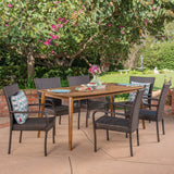 Outdoor 7 Piece Multibrown Wicker Dining Set with Teak Finish Rectangular Acacia Wood Dining Table - NH391403