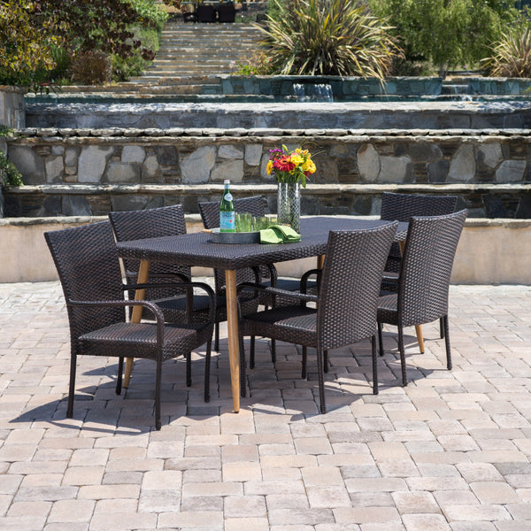 Outdoor 7 Piece Multi-brown Wicker Dining Set - NH860103