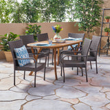 Outdoor 7 Piece Acacia Wood and Wicker Dining Set, Teak with Multi Brown Chairs - NH320503